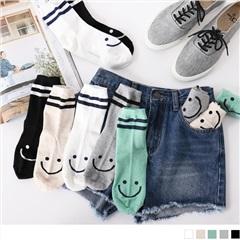 0609新品 【特價款】韓國橫條紋微笑圖樣短筒襪.5色(任3雙198)