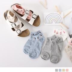 0609新品 【特價款】韓國素面綴可愛動物圖案船型襪.5色(任3雙198)