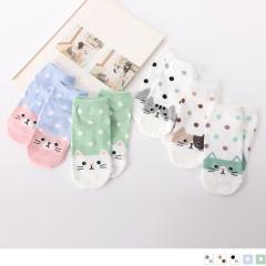 0609新品 【特價款】韓國繽紛點點貓咪船型襪.5色(任3雙198)