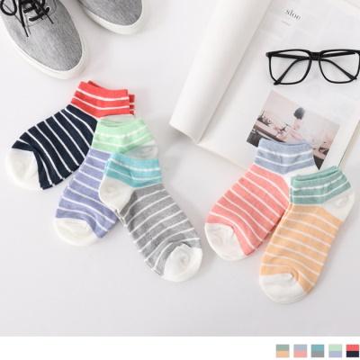 0623新品 【特價款】繽紛配色橫條紋船型襪.5色(任3雙198)