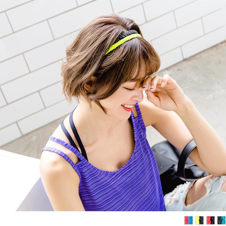 雙色麻花編止滑髮帶.4色