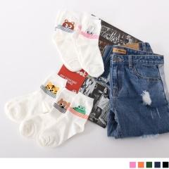 0619新品 【特價款】韓國躲藏動物條紋短筒襪.5色(3入198)