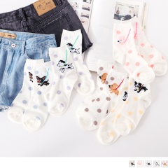 0619新品 【特價款】韓國溜狗點點短筒襪(任選3入198).5色