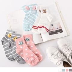 0609新品 【特價款】韓國刺繡動物點點/條紋短筒襪.4色
