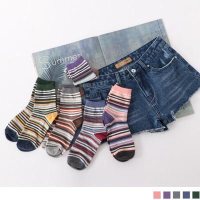 0609新品 【特價款】韓國復古拼色條紋短筒襪.5色