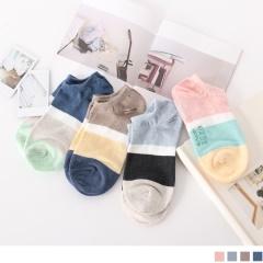0721新品【特價款】韓國馬卡龍撞色船型襪.4色