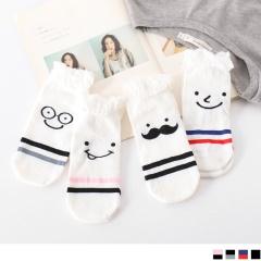 0609新品 【特價款】韓國趣味表情條紋船型襪.4色