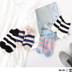 0609新品 【特價款】韓國撞色條紋船型襪.4色