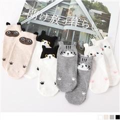 0609新品 【特價款】韓國可愛貓咪耳朵圖樣船型襪.4色