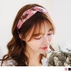 0621新品 浪漫花朵圖案交錯造型寬版髮帶.3色