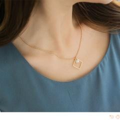 0612新品 愛心/方形框綴珍珠短項鍊.2色