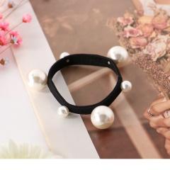 0619新品 【特價款】大小珍珠點綴彈力黑髮圈