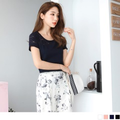 0721新品 台灣製造.甜美雕花鏤空拼接立體織紋圓領上衣.4色