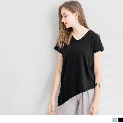 0626新品 素色棉感斜襬剪裁V領寬鬆上衣.2色