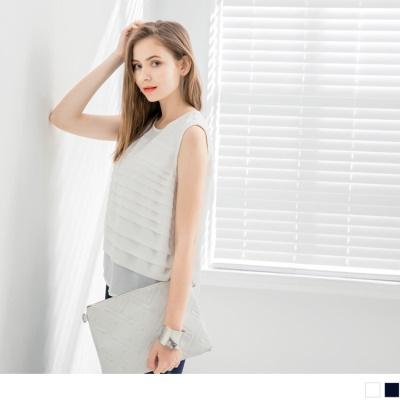 0711新品 橫打褶質感素色雪紡背心‧2色
