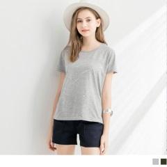 0713新品 潑點印花舒適棉感圓領短袖上衣.2色