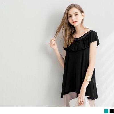 0626新品 荷葉邊蕾絲拼接親膚彈性寬鬆上衣.2色