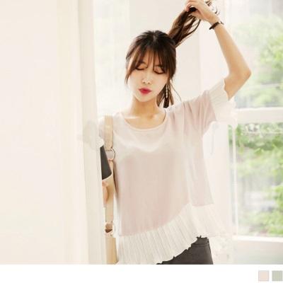 0628新品 質感素面拼接純白百褶雪紡造型上衣.2色