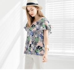 0713新品 彩色印花2way挖肩/荷葉短袖棉感寬鬆上衣
