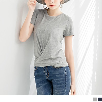 0626新品 抓皺擺造型舒適彈性圓領短袖上衣.2色
