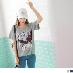 0816新品 老鷹印圖鬆緊縮襬高含棉T恤.2色