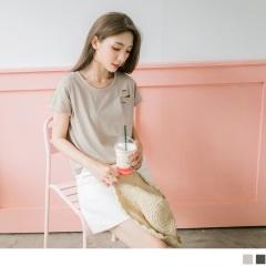 【周末限定♥現折100】單邊隨興抓破側襬開衩前短後長純色高含棉連袖T恤.2色