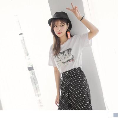 0704新品 金蔥網紗點綴照片拼布高含棉落肩T恤.2色