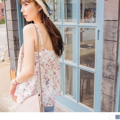 0628新品 浪漫花朵圖案V領口傘襬雪紡細肩帶上衣.2色