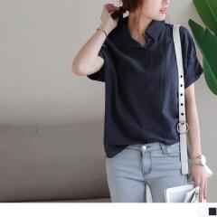 0720新品 格紋布抓皺連袖造型排釦襯衫.2色