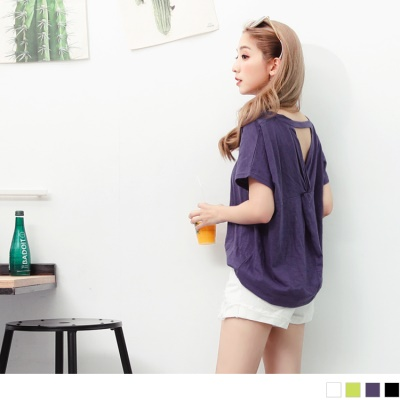 【LINE限定】美背造型V領口連袖竹節棉上衣.4色