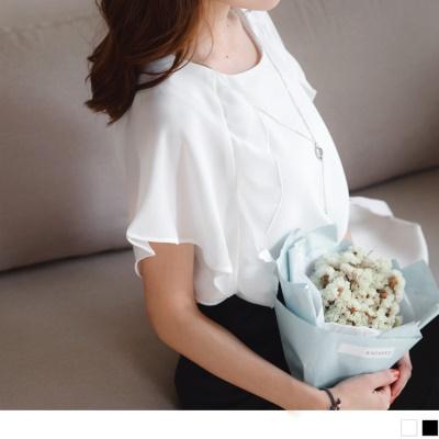 0621新品 附墬鍊純色側拼接荷葉花邊連袖上衣.2色