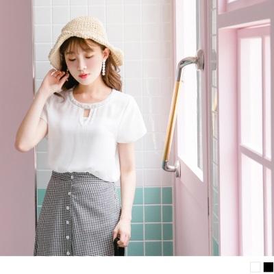 0704新品 串珠點綴鏤空領口純色雪紡上衣.2色