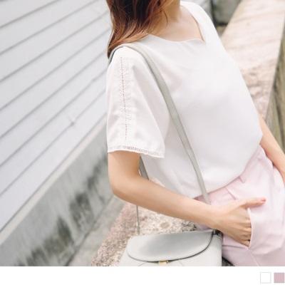 0706新品 純色小V領拼接鏤空布蕾絲袖口雪紡上衣.2色