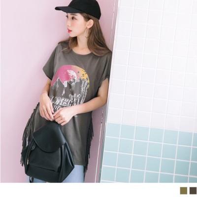 0706新品 個性印花圖案開衩流蘇造型連袖高含棉長板上衣.2色