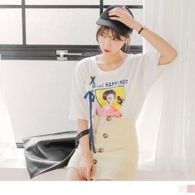 0706新品 照片膠印X交叉織帶點綴高含棉落肩寬鬆T恤.2色