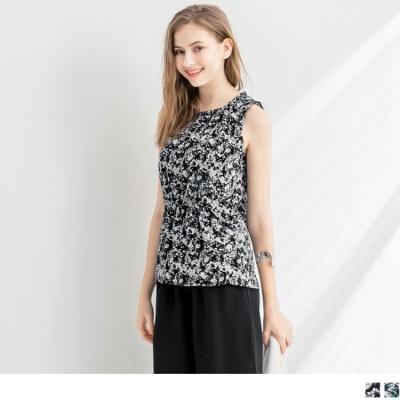 0704新品 碎花側縮腰造型雪紡無袖背心‧2色