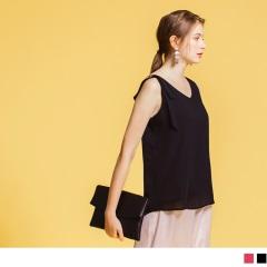 0713新品 單肩金屬釦綁帶造型無袖雪紡背心.2色