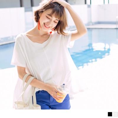 0626新品 質感純色V領口傘襬造型連袖上衣.2色