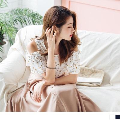 0704新品 滿版浪漫花朵圖案挖肩抓皺造型上衣.2色