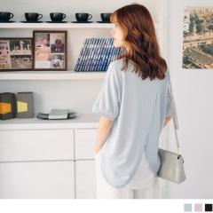 0807新品 純色質感後背兩片式拼接雪紡面料圓領上衣.3色