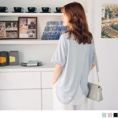 0707新品 純色質感後背兩片式拼接雪紡面料圓領上衣.3色
