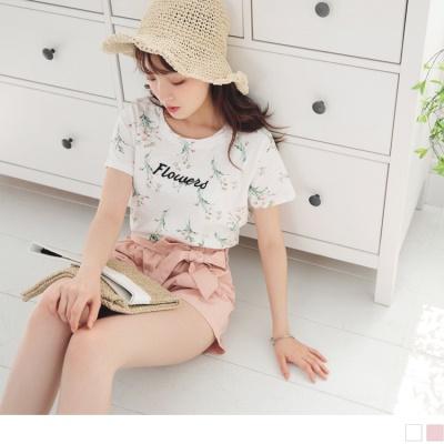 0628新品 浪漫花朵圖案綴英文字刺繡設計竹節紋上衣.2色