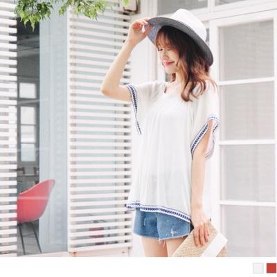0626新品 胸前立體壓皺綴刺繡滾邊嫘縈面料方領寬鬆上衣.2色