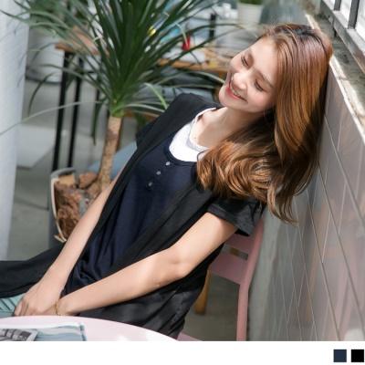 0711新品 台灣製造.竹節高含棉綴胸前排釦造型假三件式上衣.2色