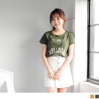 0628新品 台灣製造.逗趣手勢拼接字母燙印高含棉圓領上衣.2色