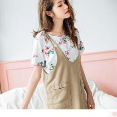 0725新品 繽紛浪漫花朵圖案竹節紋含棉彈性上衣.2色