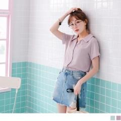 質感純色襯衫領排釦造型細皺上衣.2色