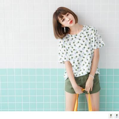 0706新品 滿版可愛鳳梨圖案高含棉落肩上衣.2色