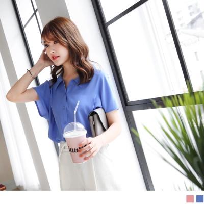 0623新品 質感純色排釦打褶設計連袖雪紡襯衫.2色