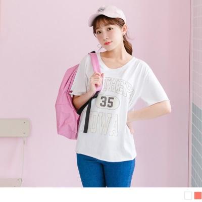 0707新品 字母背號印花袖口衣襬破損感高含棉圓領休閒上衣.2色